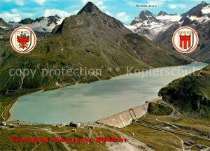 AK / Ansichtskarte Partenen_Vorarlberg Silvretta Stausee Staumauer mit Piz Buin Fliegeraufnahme Partenen Vorarlberg