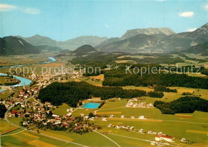 AK / Ansichtskarte Kirchbichl_Tirol Sommerholungsort mit Moorbad Kaisergebirge Fliegeraufnahme Kirchbichl Tirol