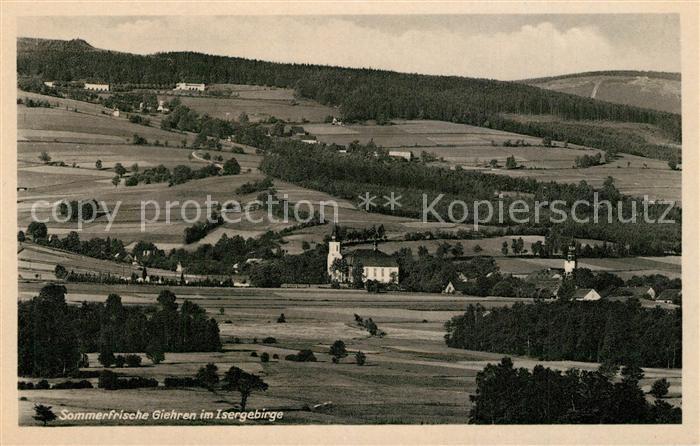 AK / Ansichtskarte Giehren_Isergebirge Panorama Kirche Giehren Isergebirge