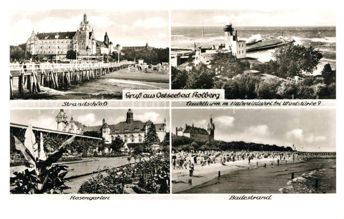 AK / Ansichtskarte Kolberg_Ostseebad_Kolobrzeg Strandschloss Leuchtturm Hafeneinfahrt Rosengarten Badestrand Kolberg_Ostseebad