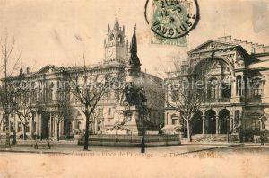 AK / Ansichtskarte Avignon_Vaucluse Place de l`Horloge Theatre et Mairie Avignon Vaucluse