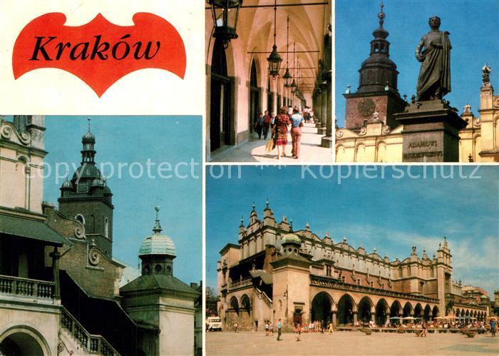 AK / Ansichtskarte Krakow_Krakau Tuchhalle Marienkirche Denkmal Krakow Krakau
