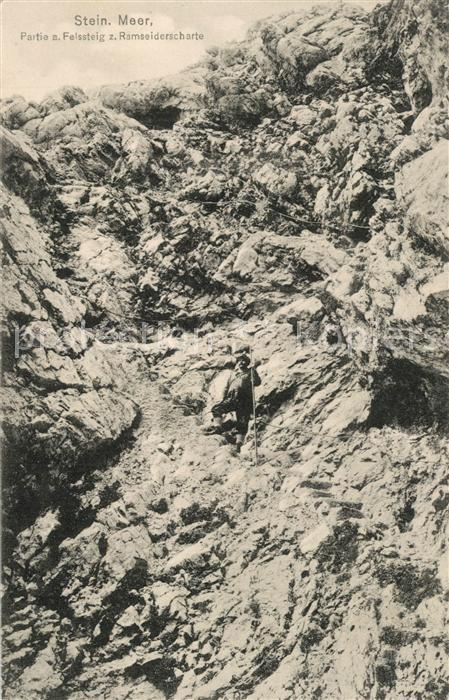 AK / Ansichtskarte Bergsteigen_Klettern Steinernes Meer Felssteig Ramseiderscharte