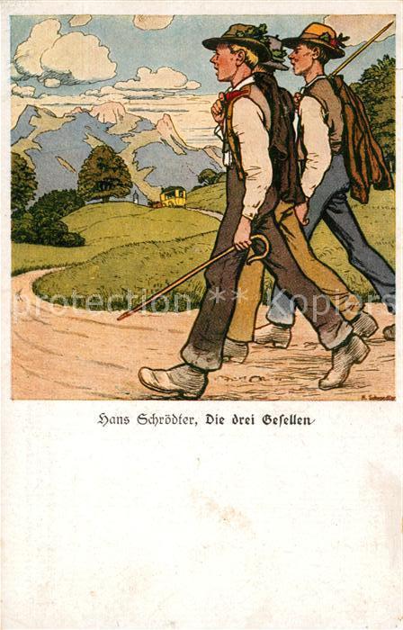 AK / Ansichtskarte Wandern K?nstlerkarte Hans Schr?dter Die drei Gesellen