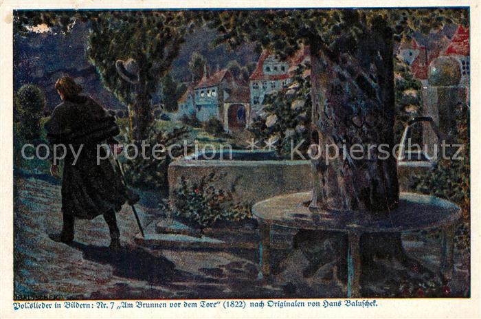 AK / Ansichtskarte 0 Kuenstlerkarte Hans Baluschek Am Brunnen vor dem Tore Volkslied Deutsche Kolonial-Kriegerspende