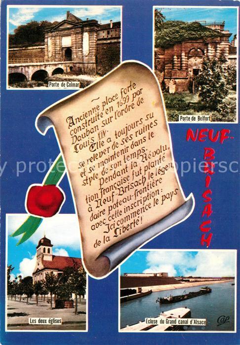 AK / Ansichtskarte Neuf Brisach Porte de Colmar Porte de Belfort Eglises Ecluse du Grand Canal d`Alsace Neuf Brisach