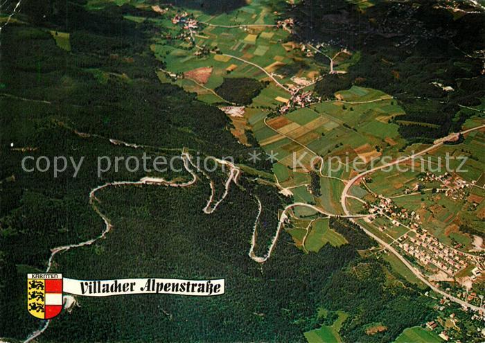 AK / Ansichtskarte Villach_Kaernten Villacher Alpenstrasse mit Blick ins Villacher Becken Fliegeraufnahme Villach_Kaernten