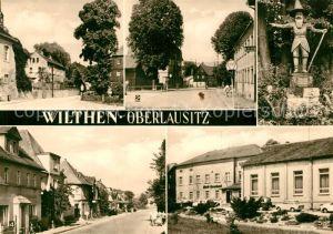 AK / Ansichtskarte Wilthen Thaelmannplatz Bahnhofstr Der Pumphut Zittauer Str Haus Bergland Ferienheim und Gaststaette Wilthen