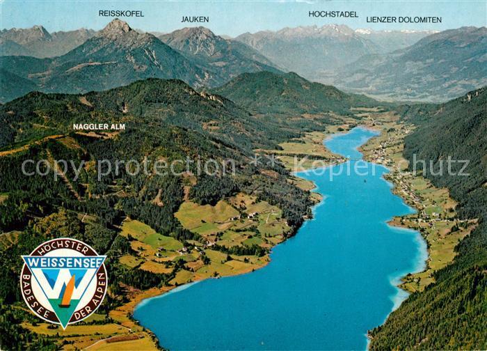 AK / Ansichtskarte Weissensee_Kaernten Panorama Blick gegen Drautal und Lienzer Dolomiten Fliegeraufnahme Weissensee Kaernten