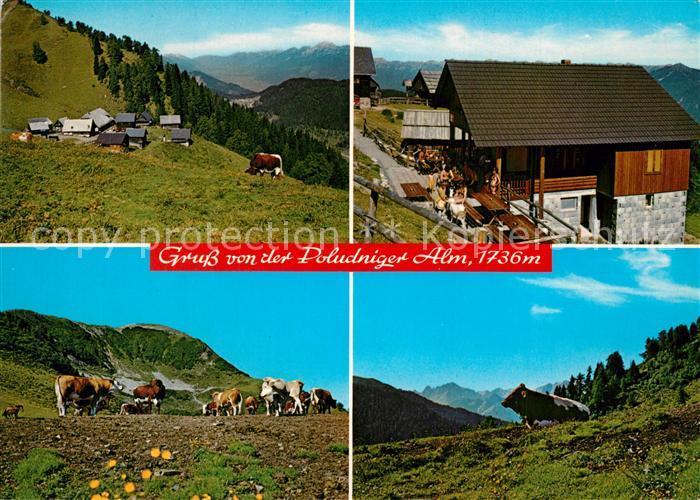 AK / Ansichtskarte Hermagor_Kaernten Jausenstation Poludniger Alm gegen Eggeralm Gailtal Alpengasthaus Poludnig Julische Alpen Hermagor Kaernten