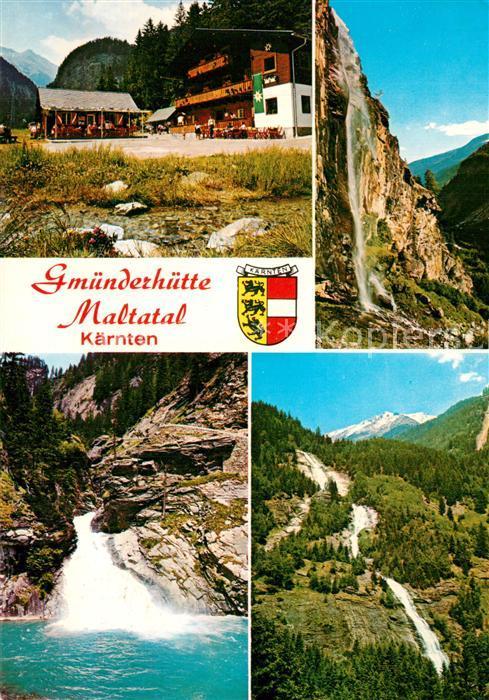 AK / Ansichtskarte Maltatal_Kaernten Gmuender Huette Wasserfall Landschaftspanorama Alpen Maltatal Kaernten