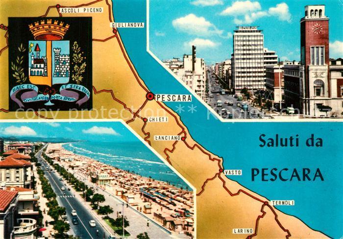 Pescara Stadtbild mit Hochhaus Uferstrasse Strand Landkarte Pescara