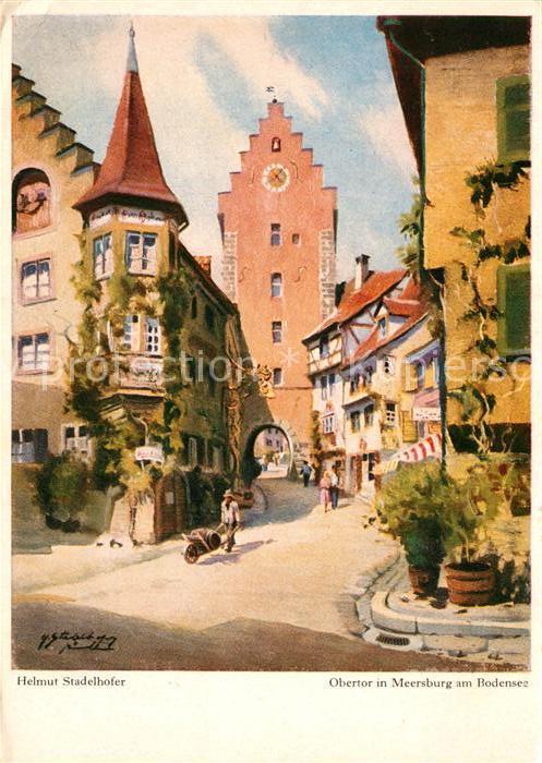 AK / Ansichtskarte K?nstlerkarte Helmut Stadelhofer Obertor Meersburg Bodensee   0