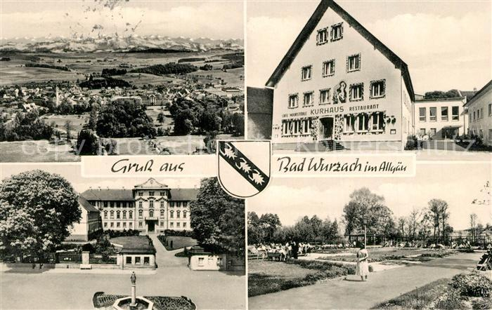 AK / Ansichtskarte Bad_Wurzach Landschaftspanorama Alpenkette Kurhaus Schloss Park Bad_Wurzach 0