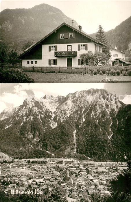 AK / Ansichtskarte Mittenwald_Karwendel_Tirol Gaestehaus Pension Gesamtansicht mit Karwendelgebirge Mittenwald_Karwendel 0