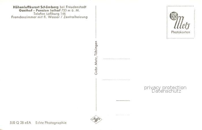 AK / Ansichtskarte Schoemberg_Freudenstadt Panorama Hoehenluftkurort im Schwarzwald Gasthof Pension Solhof Schoemberg_Freudenstadt 1