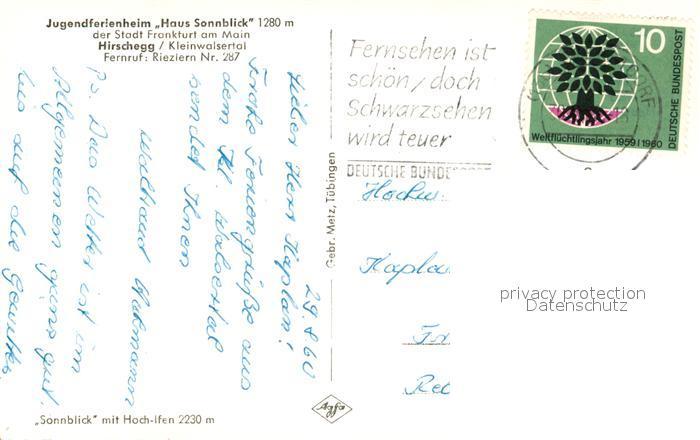 AK / Ansichtskarte Hirschegg_Kleinwalsertal_Vorarlberg Jugendferienheim Haus Sonnblick mit Hoch Ifen Allgaeuer Alpen Hirschegg_Kleinwalsertal 1