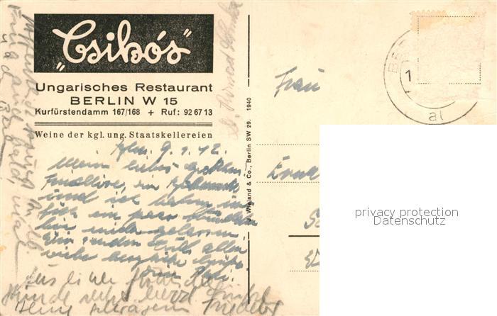 AK / Ansichtskarte Berlin Ungarisches Restaurant Pusztastube Czikos Berlin 1