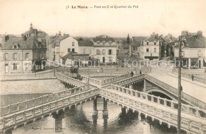 AK / Ansichtskarte Le_Mans_Sarthe Le Pont en X et le Pont Yssoir sur la Sarthe Quartier du Pre Le_Mans_Sarthe 0