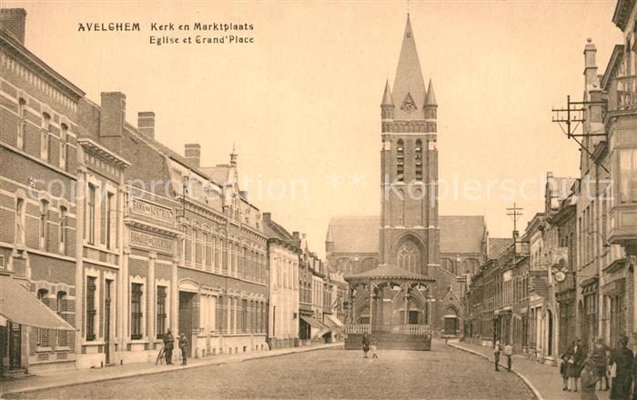 AK / Ansichtskarte Avelghem Kerk en Marktplaats Eglise et Grande Place Avelghem 0
