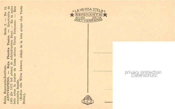 AK / Ansichtskarte Strassenbahn Antverpeno Rega Flandra Teatro Esperanto   1