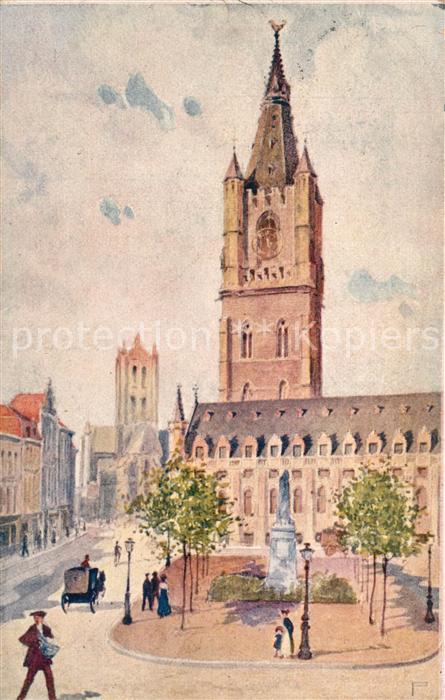 AK / Ansichtskarte Gent_Gand_Flandre Belfort Lakenhalle K?nstlerkarte  Gent_Gand_Flandre 0