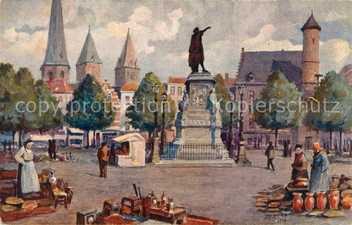 AK / Ansichtskarte Gand_Belgien Marche du Vendredi K?nstlerkarte  Gand Belgien 0