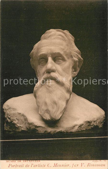 AK / Ansichtskarte Skulpturen Portrait de l Artiste C. Meunier par V. Rousseau  0