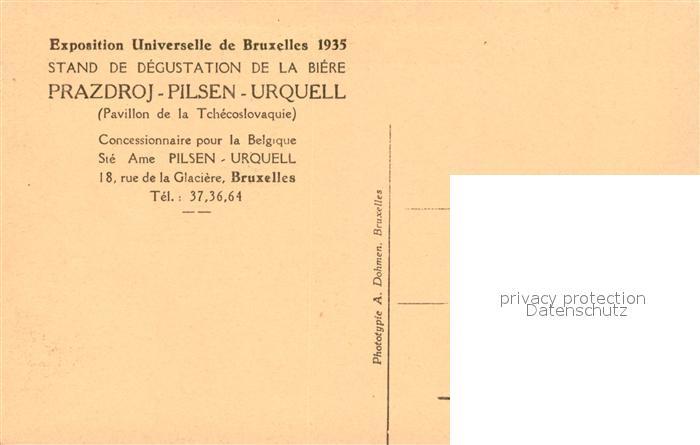 AK / Ansichtskarte Exposition_Bruxelles_1935 Stand de degustation de la Biere Prazdroj Pilsen Urquell  Exposition_Bruxelles_1935 1