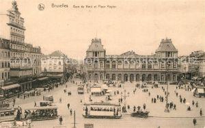 AK / Ansichtskarte Strassenbahn Bruxelles Gare du Nord Place Rogier