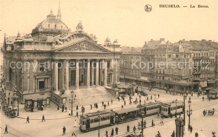 AK / Ansichtskarte Strassenbahn Bruselo Borso Belga Esperanto Instituto