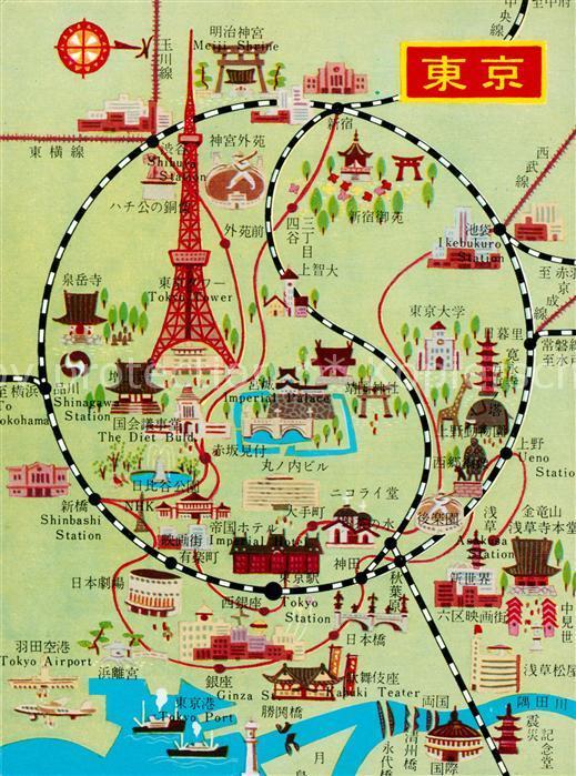 AK / Ansichtskarte Tokyo Lageplan Tokyo 0