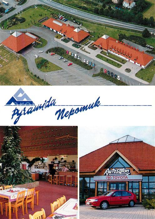 AK / Ansichtskarte Nepomuk_Pomuk Motel Pyramida restaurace Cerpaci Stanice Autosalon Toyota Nepomuk Pomuk 0