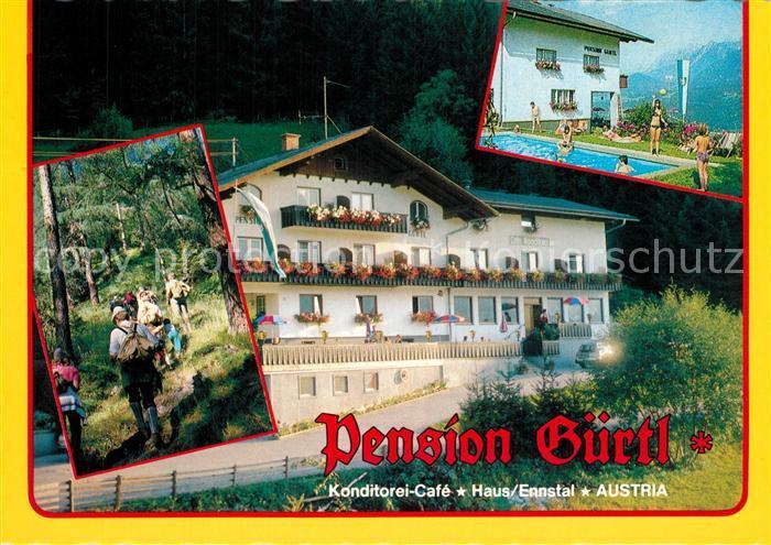 AK / Ansichtskarte Haus_Ennstal Pension Guertl Konditorei Cafe Swimming Pool Wandern Haus_Ennstal 0
