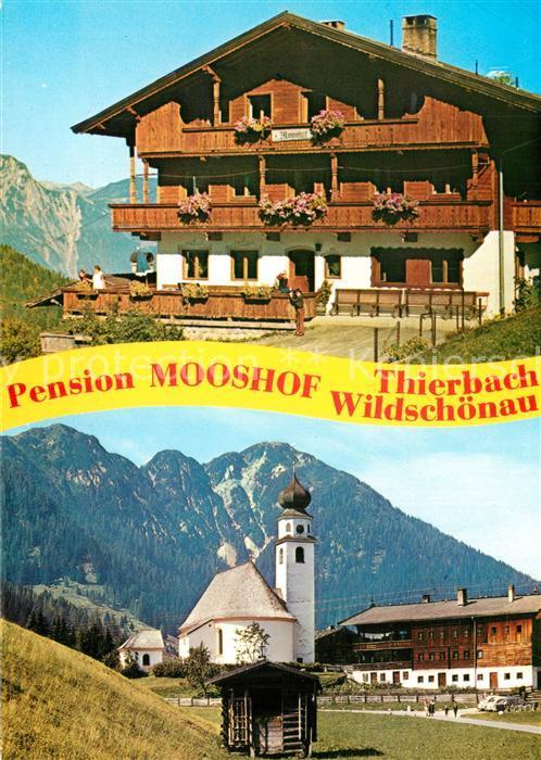 AK / Ansichtskarte Thierbach_Wildschoenau Pension Mooshof Ortsmotiv mit Kirche Alpen Thierbach Wildschoenau 0
