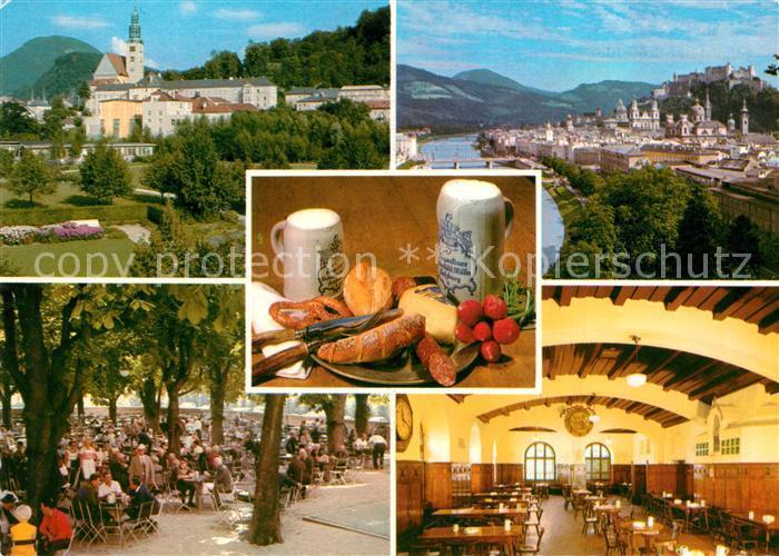 AK / Ansichtskarte Salzburg_Oesterreich Augustiner Braeustuebl Restaurant Gartenterrasse Stadtpanorama mit Festung Hohensalzburg Salzburg_Oesterreich 0