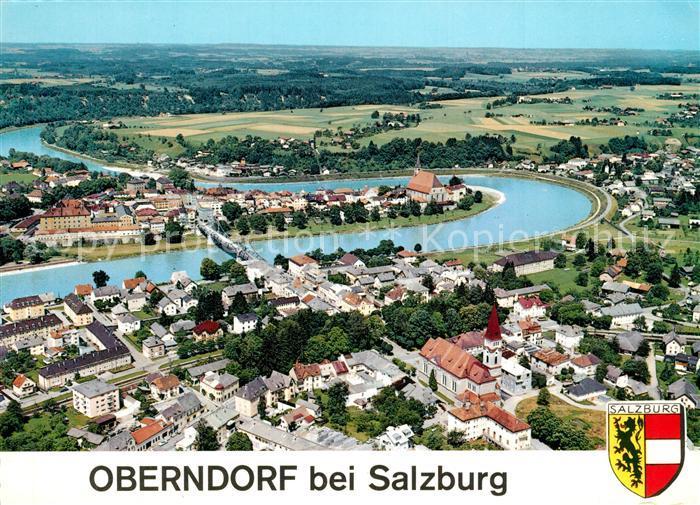 AK / Ansichtskarte Oberndorf_Laufen Panorama mit Salzach Fliegeraufnahme Oberndorf_Laufen 0