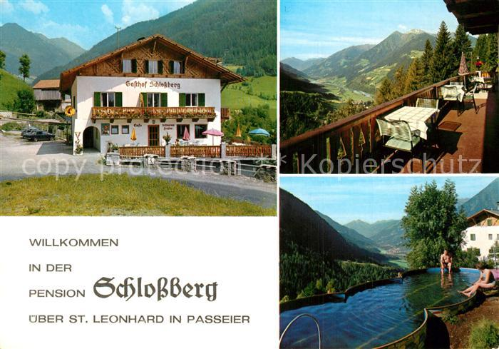 AK / Ansichtskarte St_Leonhard_Passeier Pension Schlossberg Swimming Pool Landschaftspanorama Alpen St_Leonhard_Passeier 0