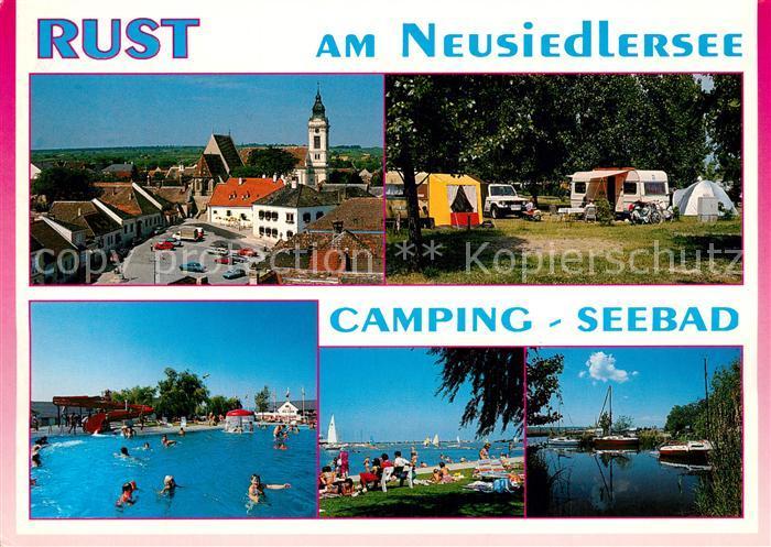 AK / Ansichtskarte Rust_Burgenland Ortsansicht mit Kirche Freibad Campingplatz Neusiedlersee Rust_Burgenland 0
