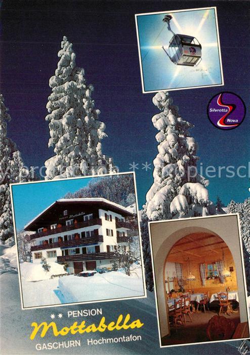 AK / Ansichtskarte Gaschurn_Vorarlberg Pension Mottabella Bergbahn Winterzauber im Hochmontafon Gaschurn Vorarlberg 0