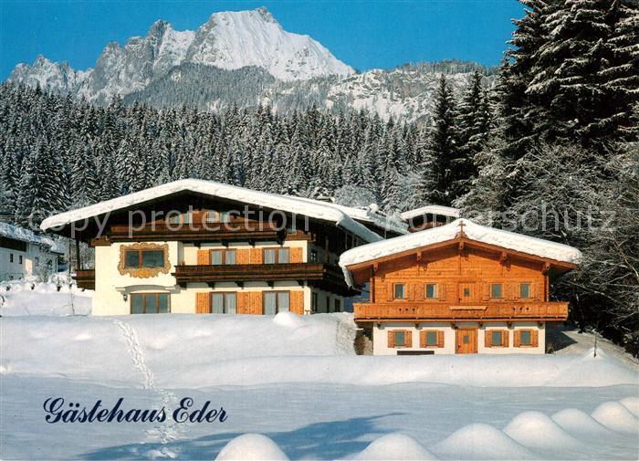 AK / Ansichtskarte St_Johann_Tirol Gaestehaus Pension Eder Winterlandschaft Alpen St_Johann_Tirol 0