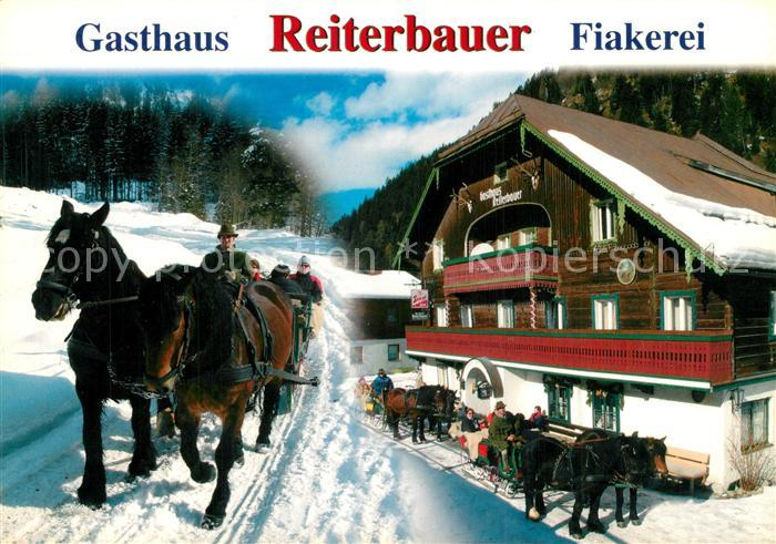 AK / Ansichtskarte Bad_Gastein Gasthaus Reiterbauer Fiakerei Pferdeschlitten Bad_Gastein 0
