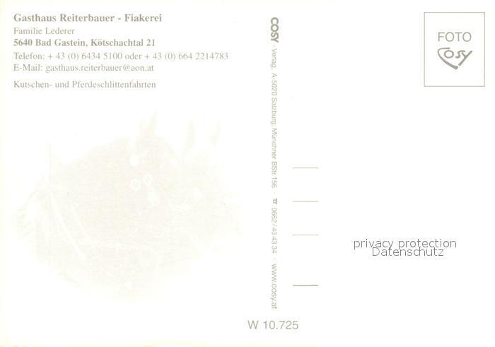 AK / Ansichtskarte Bad_Gastein Gasthaus Reiterbauer Fiakerei Pferdeschlitten Bad_Gastein 1