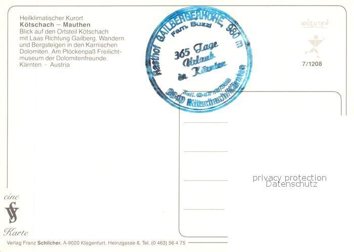 AK / Ansichtskarte Koetschach Mauthen_Kaernten Kurort mit Laas Gailberg Karnische Dolomiten Fliegeraufnahme Koetschach Mauthen Kaernten 1