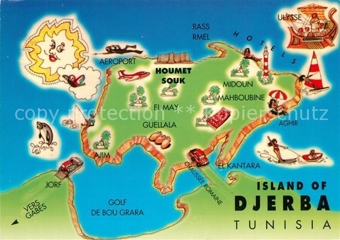 Mittelmeer Karte Inseln.Ak Ansichtskarte Djerba Landkarte Insel Mittelmeer Djerba
