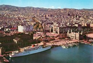 AK / Ansichtskarte Barcelona_Cataluna Fliegeraufnahme Fliegeraufnahme Barcelona Cataluna