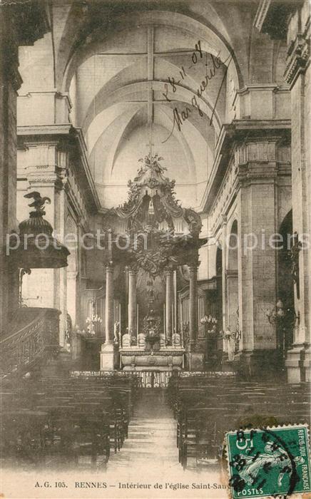 AK / Ansichtskarte Rennes_Ille et Vilaine Interieur de l Eglise