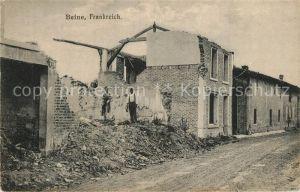 AK / Ansichtskarte Beine Une rue pendant la Grande Guerre Truemmer 1. Weltkrieg Beine