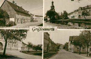 AK / Ansichtskarte Graefenwarth Teilansichten Strassenpartie Blick zur Kirche Teich Handabzug Graefenwarth