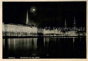 AK / Ansichtskarte Hamburg Mondnacht auf der Alster Hamburg